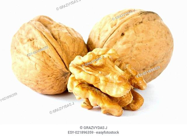 three dried walnuts