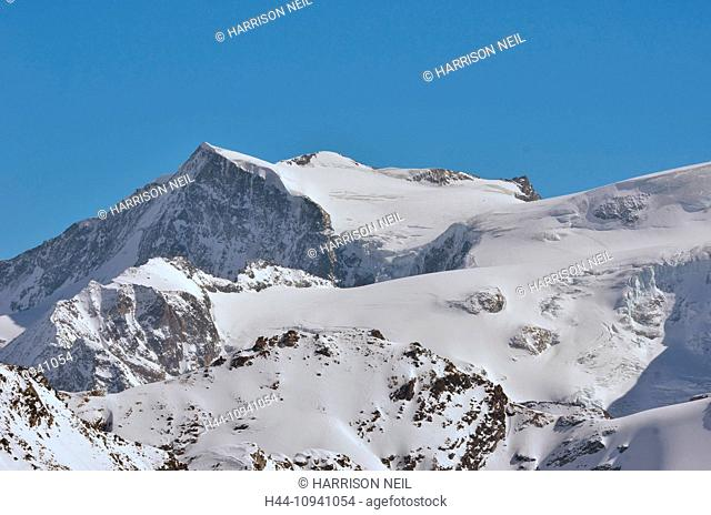 The mont Blanc de Cheilon with ski tracks visible, a high mountain popular with, and ski mountaineers in the southern swiss alps near to Arolla