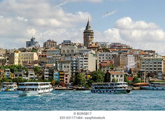 View of Istanbul Beyoglu area with Galata Tower from Bosphorus