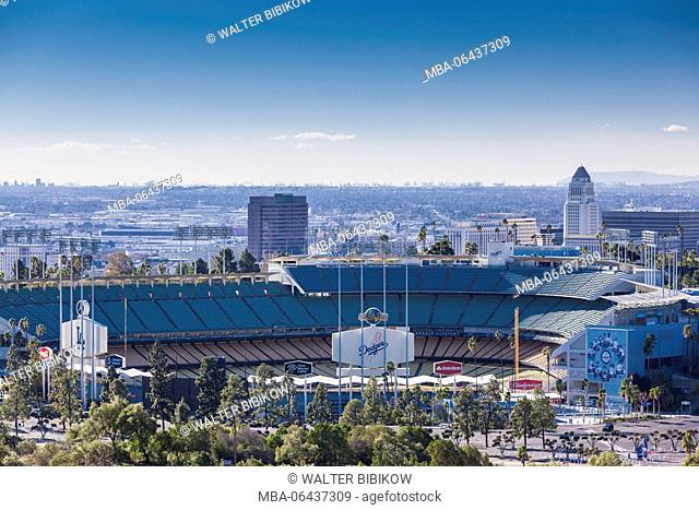USA, California, Los Angeles, elevated view of the Los Angeles Dodgers baseball stadium, morning