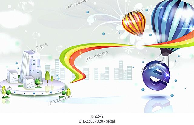 Internet Explorer sign with air balloon and city vector