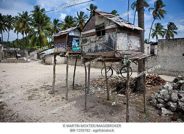 Two bird houses on stilts in the village of Jambiani, Zanzibar, Tanzania, Africa