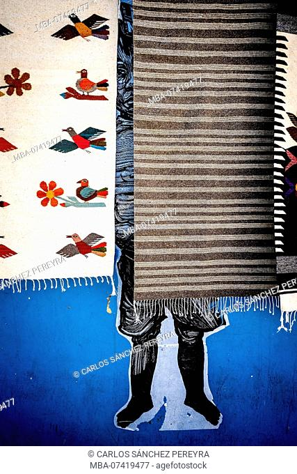Traditional fabrics in the city of Oaxaca in Mexico