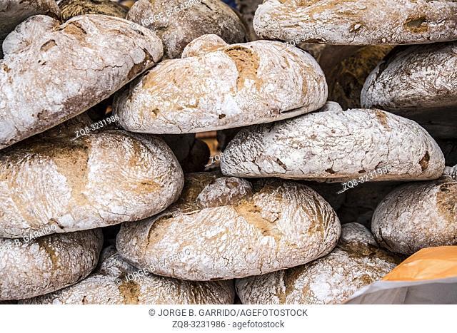 Rustic bread at Candas street market, Asturias, Spain