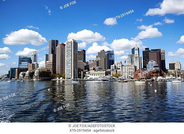 Boston city waterfront shoreline skyline USA