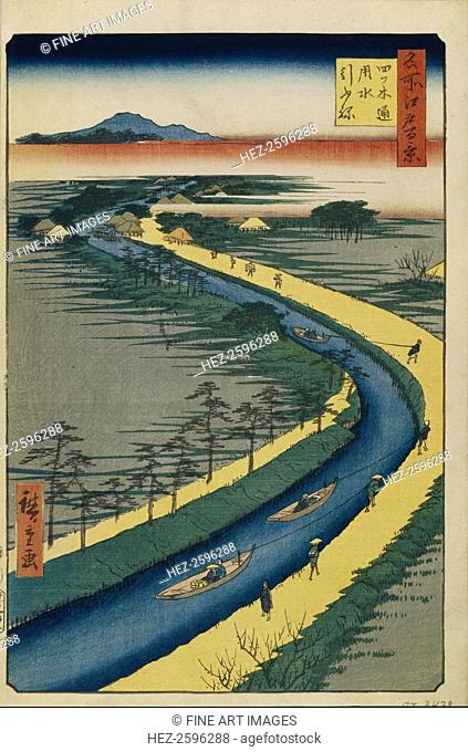 Towboats on the Yotsugi dori Canal (One Hundred Famous Views of Edo), 1856-1858. Found in the collection of the State Hermitage, St. Petersburg