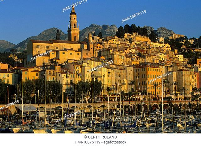 Menton, France, Côte d'Azur, Alpes-Maritimes, town, city, houses, homes, church, sea, morning light, harbour, port, ships, sail boats