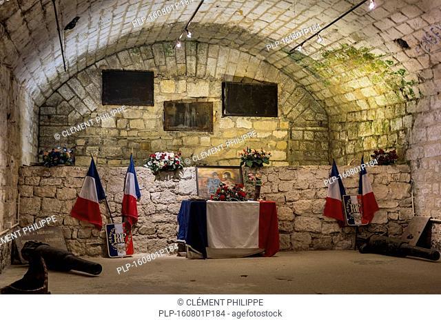 Memorial chapel inside the First World War One Fort de Douaumont, Lorraine, Battle of Verdun, France