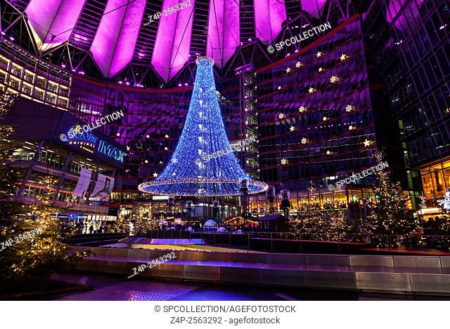 Sony Center at Potsdamer Platz with christmas decoration in Berlin Germany