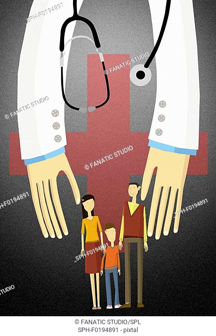 Illustration of a family covered under medical insurance