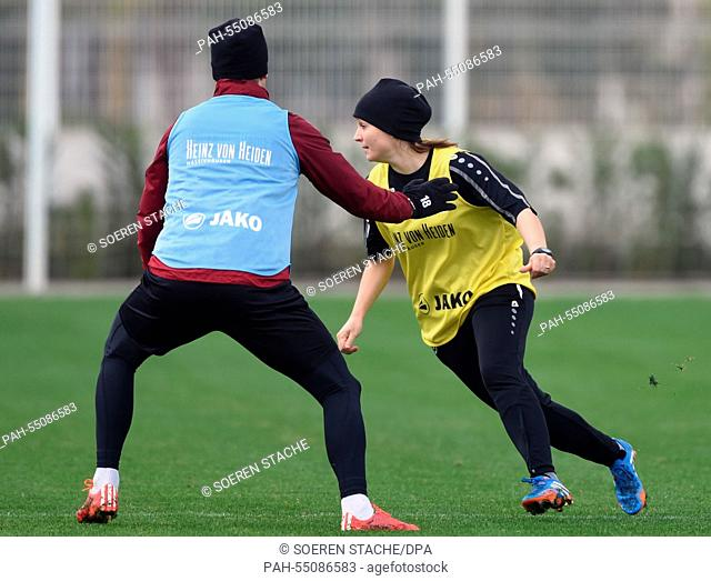 A player and Trainee Jana Menzel of Hannover 96 in action during a training session in Belek, Turkey, 16 January 2015. Hannover 96 stays in Belek to prepare for...