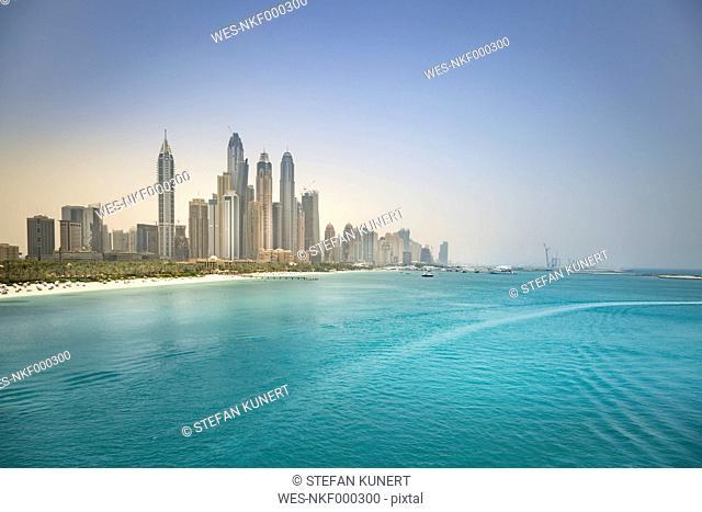 UAE, Dubai, skyline of Dubai Marina with Persian Gulf Coast