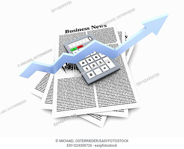 Looking for the latest business news. 3d rendered Illustration. Isolated on white
