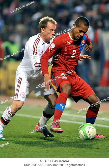 Danish player Michael Kronh-Dehli (left) and Czech Republic's player Theodor Gebre Selassie fight for the ball in their 2014 World Cup qualifying soccer match...