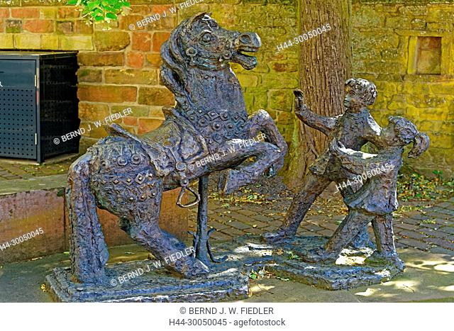 Riding place in school, statues, horse, children, Gleisweiler Germany