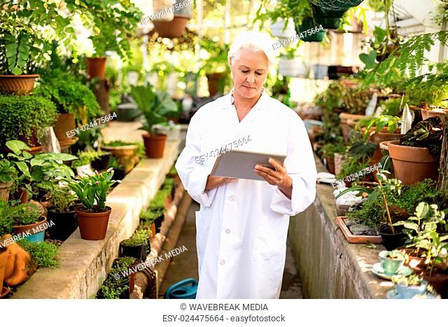 Female scientist using digital tablet amidst plants