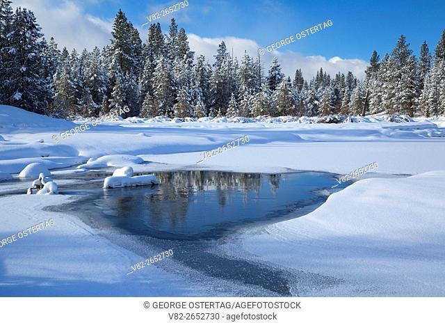 Deschutes Wild and Scenic River in winter, La Pine State Park, Oregon