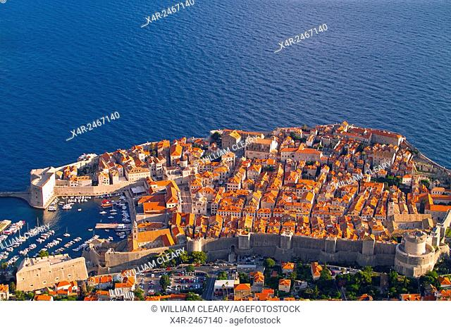 Old town Dubrovnik viewed from Srd Hill, Dubrovnik, Dalmatian Coast, Croatia