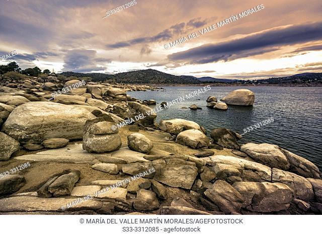 Drought and sunrise at Burguillo reservoir. Iruelas Valley. Avila. Spain. Europe