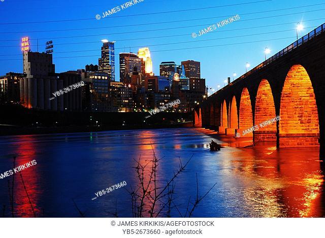 Minneapolis Skyline and the Stone Arch Bridge