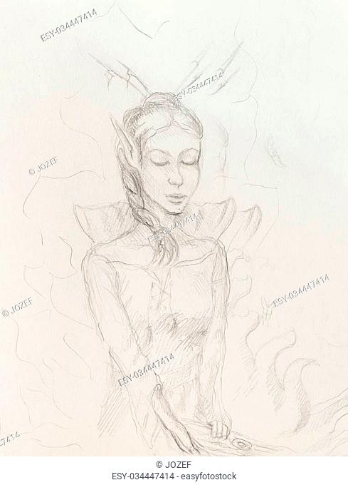 Drawing of elf woman, pencil sketch on paper