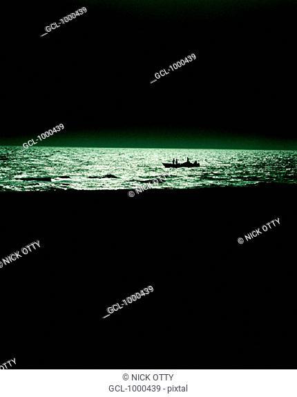 Silhouette of a boat near the beach in Dubai, UAE