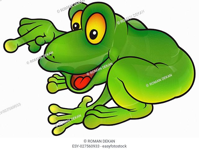 Sitting Green Frog Pointing - Colored Cheerful Cartoon Illustration, Vector