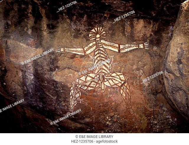 Aboriginal cave painting, Australia. Traditional Aboriginal art almost always has a mythological undertone relating to the Dreamtime of Australian Aborigines