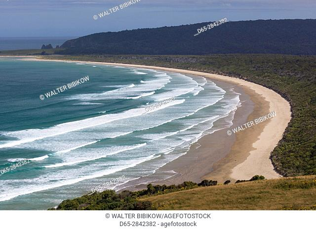 New Zealand, South Island, Southland, The Catlins, Tautuku Bay, elevated view