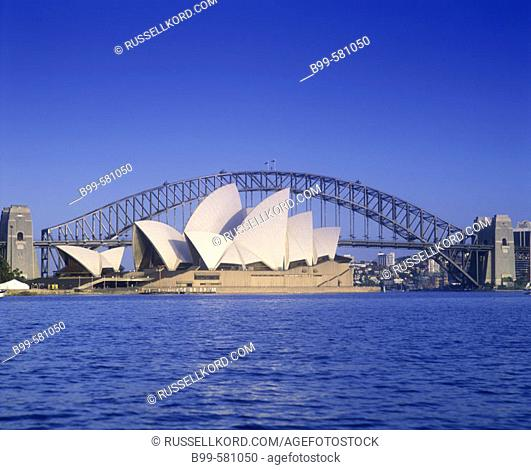 Opera House & Harbor Bridge, Sydney Skyline, New South Wales, Australia