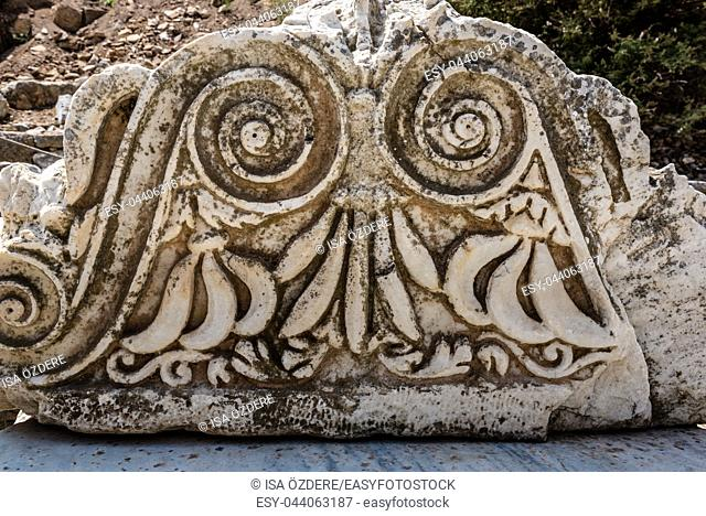 Marble reliefs in Ephesus historical ancient city, in Selcuk,Izmir,Turkey