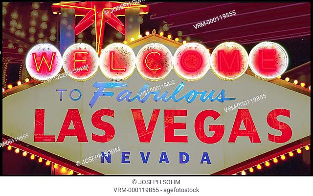 Neon lights spellout in animated sequence, Welcome to Las Vegas Nevada