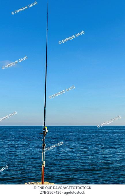 A fishing rod view in Santa Pola port, Alicante, Spain
