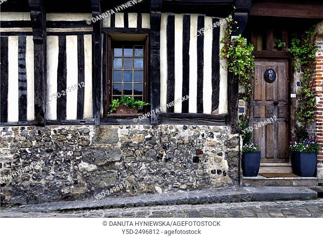 Europe, France, Normandy, Calvados, Honfleur, architectural detail