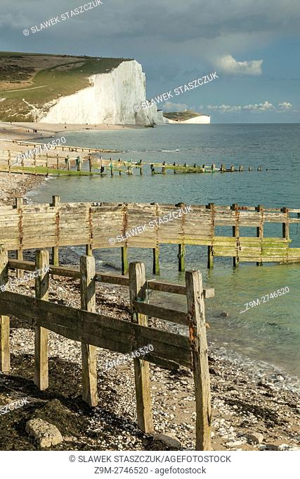 Autumn afternoon at the chalk cliffs of Seven Sisters near Eastbourne, East Sussex, England. South Downs National Park