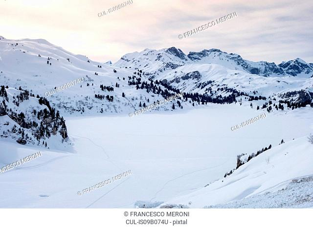 Snow covered mountain valley, Engelberg, Mount Titlis, Switzerland