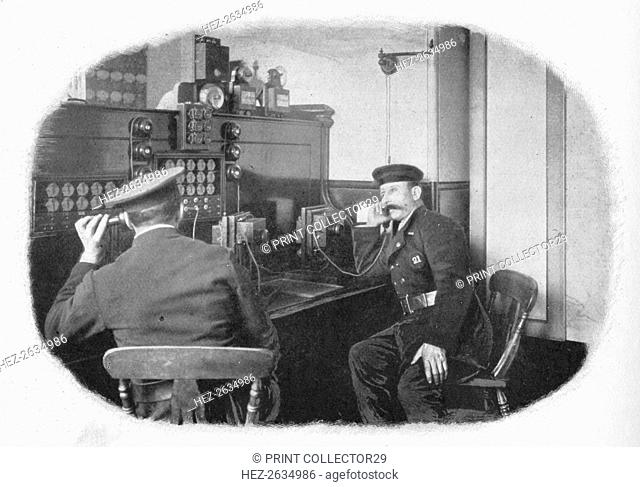 At the telephone, London Fire Brigade, c1900 (1901). Artist: Unknown