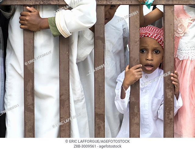 Sunni muslim boy celebrating the Maulidi festivities, Lamu County, Lamu Town, Kenya