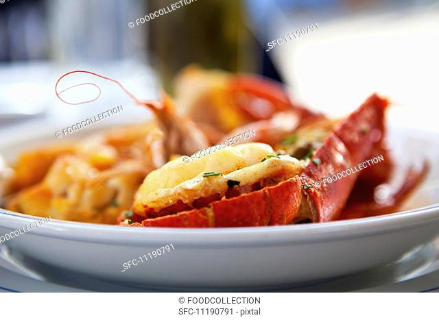 Lobster in a White Bowl, On an Outdoor Table at a Restaurant in the South of France