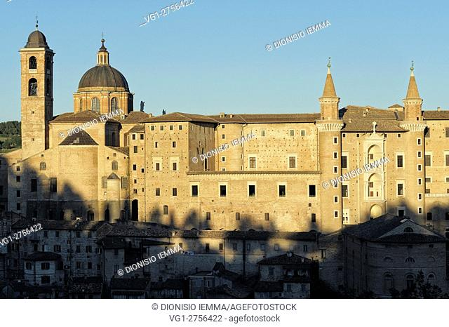 View of the city with Palazzo Ducale and Cathedral, Urbino, District of Pesaro and Urbino, Marches, Italy, Europe