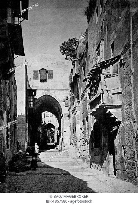 One of the first autotypes of Bab el Khabil, Jerusalem, historical photograph, 1884
