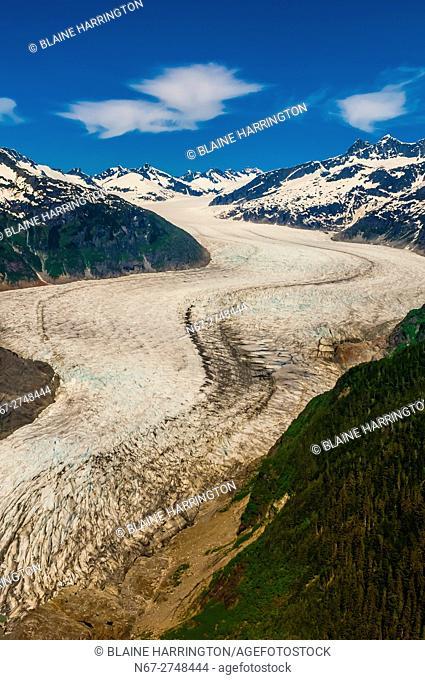 Aerial view of the Mendenhall Glacier, Juneau, Alaska USA