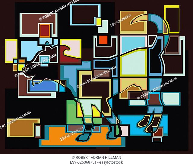 Colorful eps8 editable vector mosaic illustration of a young dog