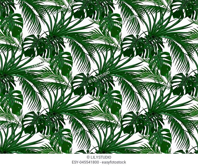 Jungle. Green leaves of tropical palm trees, monstera, agave. Seamless. Isolated on white background. Vector illustration