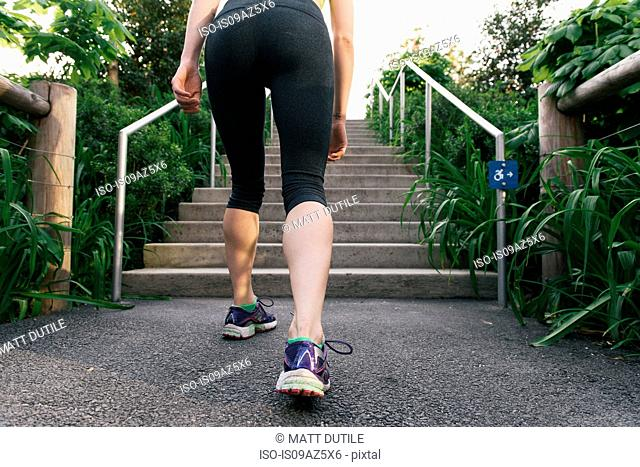 Young woman exercising outdoors, running up steps, rear view, Brooklyn Bridge Park, Brooklyn, New York, USA