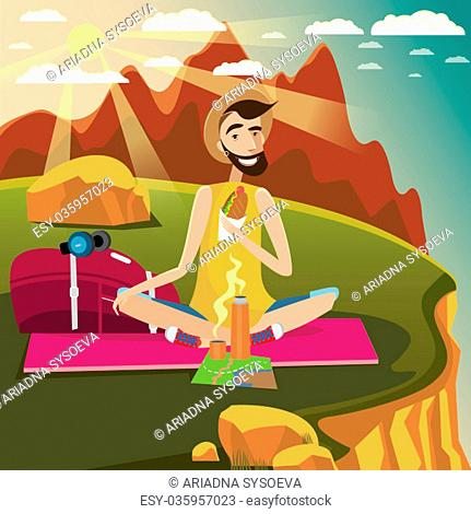 Backpacker sits on a grassland in the mountains near the edge of the cliff, eats sandwich and drinks hot beverage