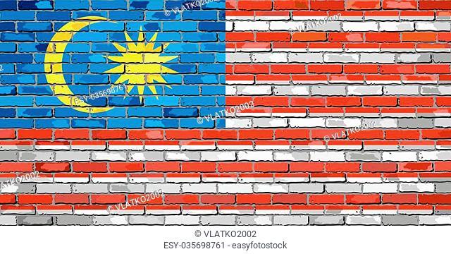 Flag of Malaysia on a brick wall - Illustration, Malaysian flag on brick textured background, Flag of Malaysia painted on brick wall