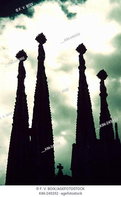 Towers of the Sagrada Familia church, by Gaudi. Barcelona. Spain
