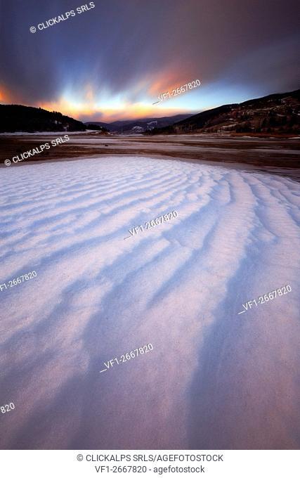 Arvo Lake, Sila National Park, Sila, Lorica, Cosenza, Calabria, Italy. Snowy rive in Lake Arvo
