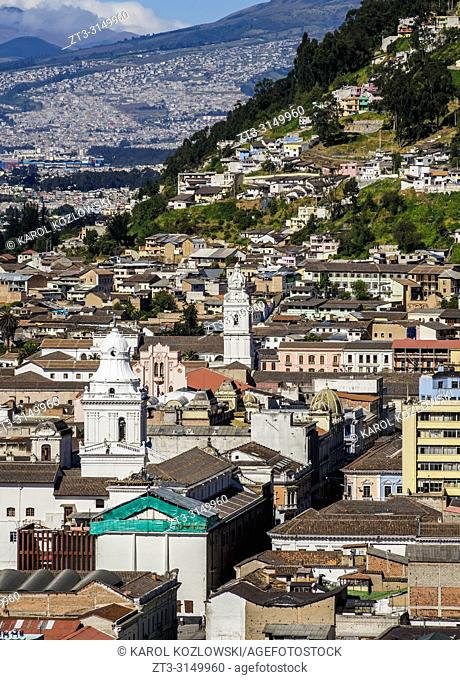 Old Town, elevated view, Quito, Pichincha Province, Ecuador